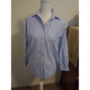 Size S Lauren Ralph Lauren blue and white shirt